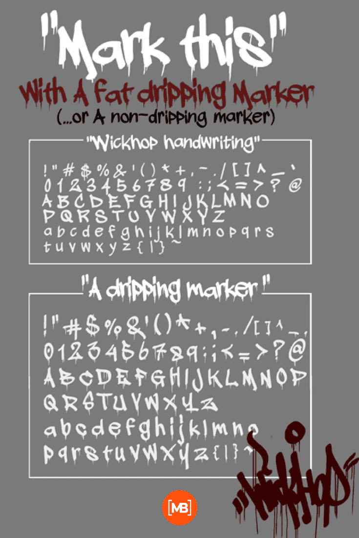 On a gray background, there is a font in two colors - white and red. Gangster Fonts.