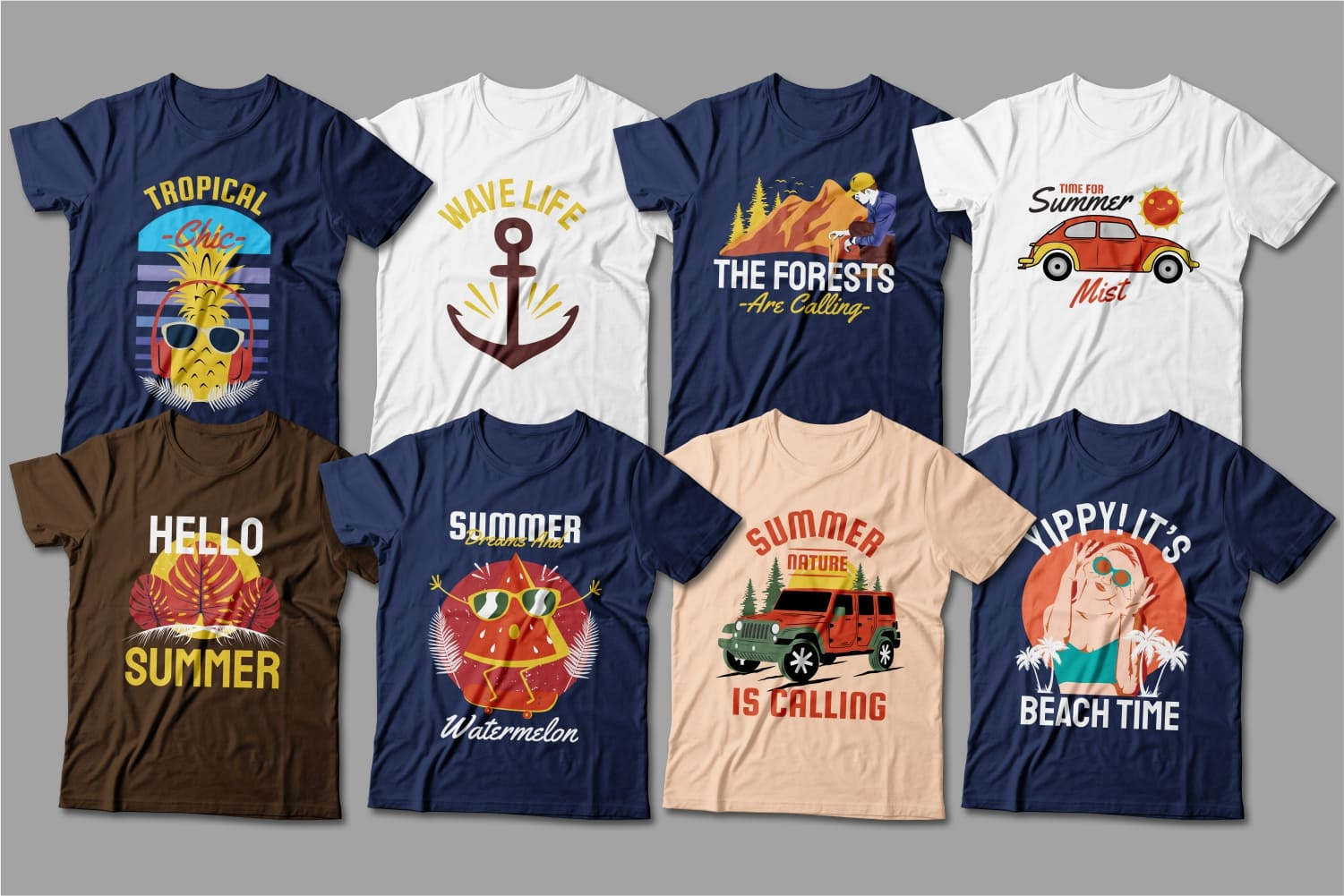Summer T-shirts featuring relaxation, summer food and cars.