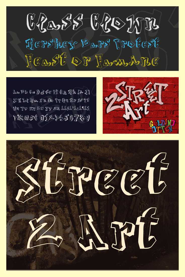 There are four variations of the font on different colored walls.Gangster Fonts.