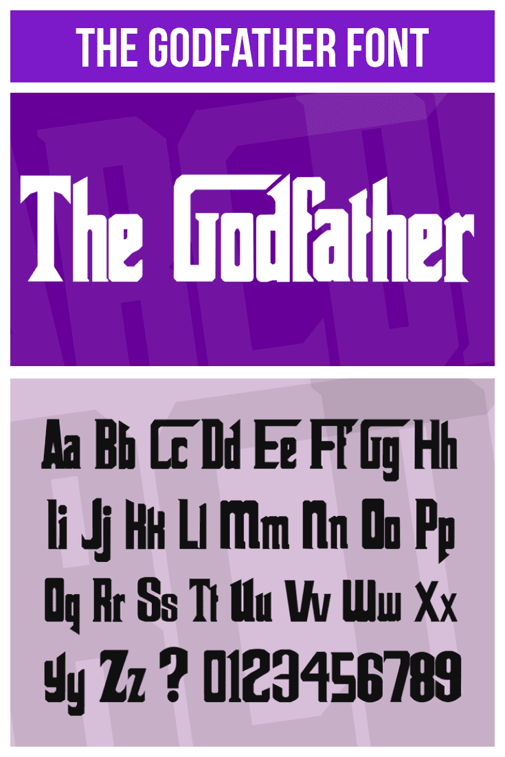 The font is shown in two formats against a purple background with lilac block accents. Gangster Fonts.