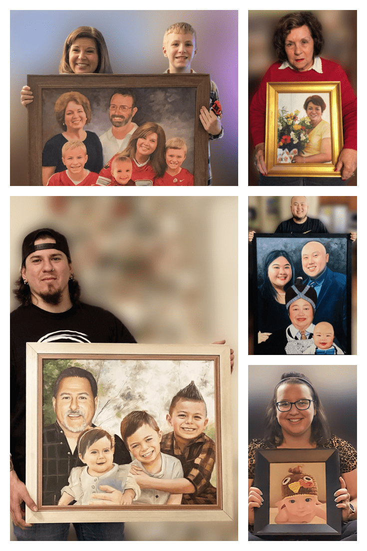 Paintings in different styles. You can order both portrait photography and family photography.