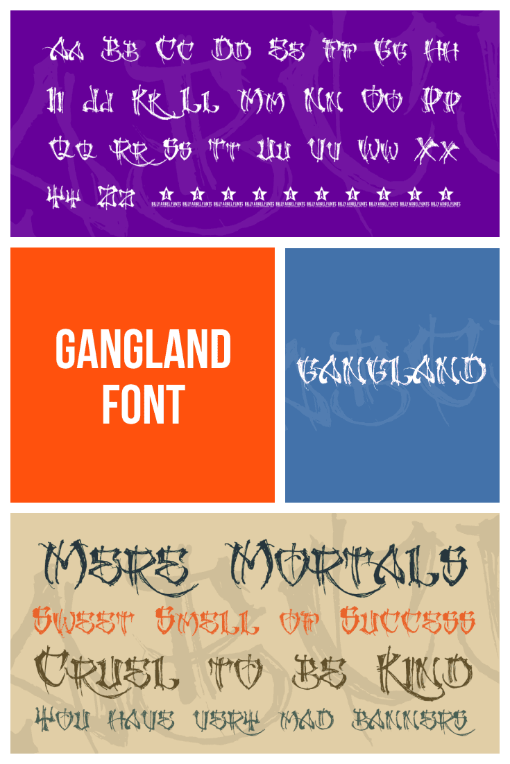 Four blocks with fonts on a background of different colors. Gangster Fonts.