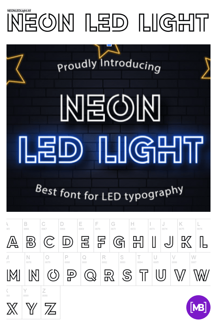 The font is depicted as a neon sign. 90s Fonts.