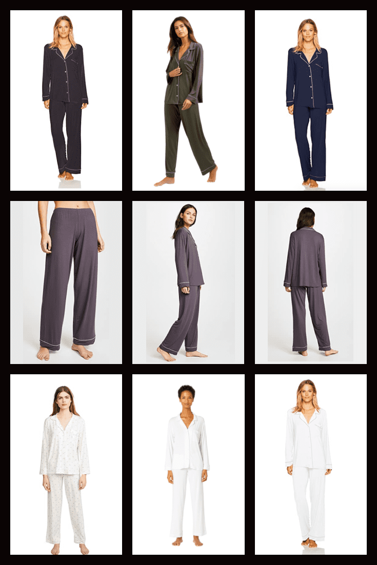 Very delicate and feminine pajamas in three colors.