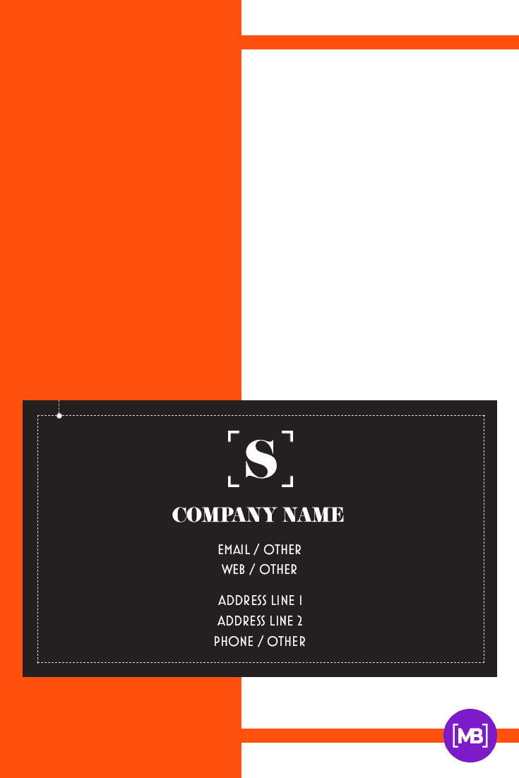 A laconic card that consists of 3 colors - black, white and orange.