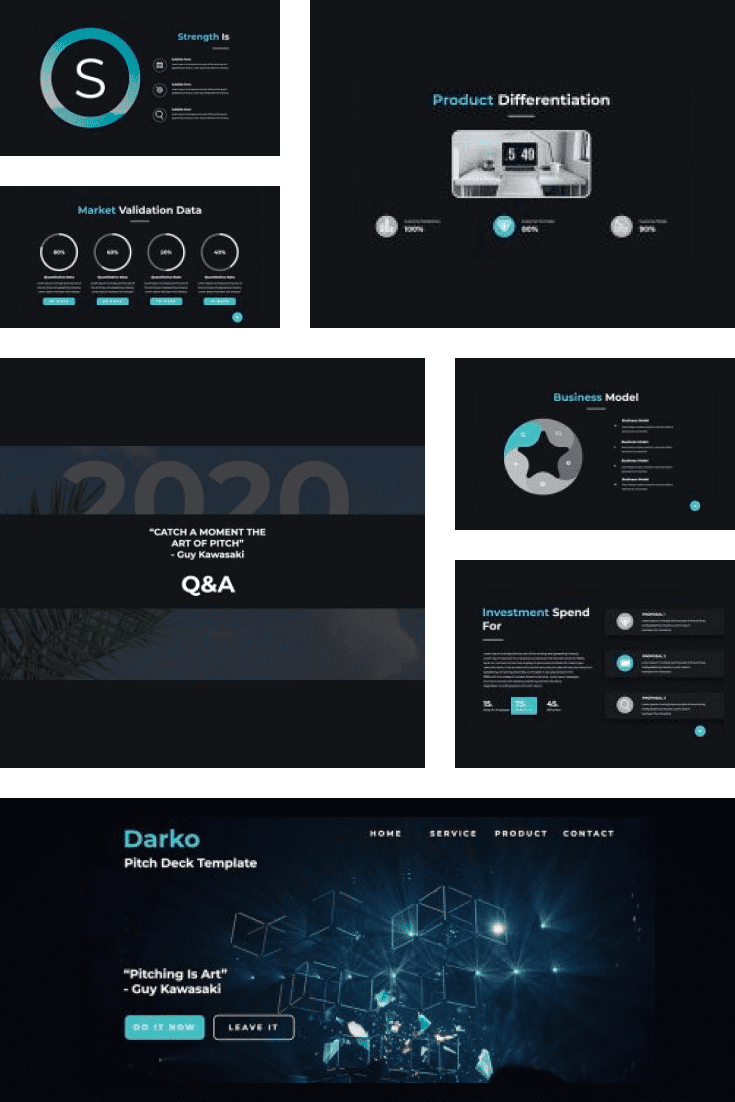 TDark template with infographics. You will be able to convey information in the simplest way possible.