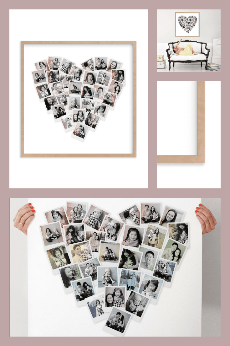 Collage of photos in the shape of a heart.