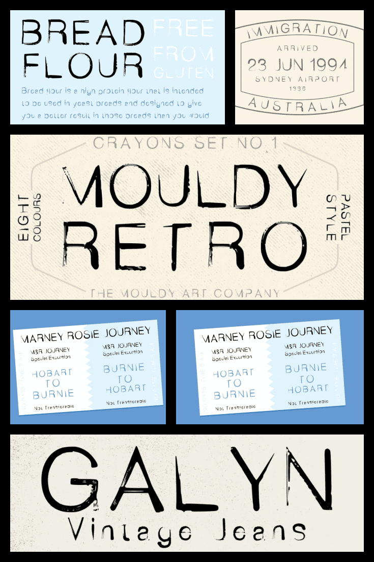 Font on different paper surfaces.  90s Fonts.