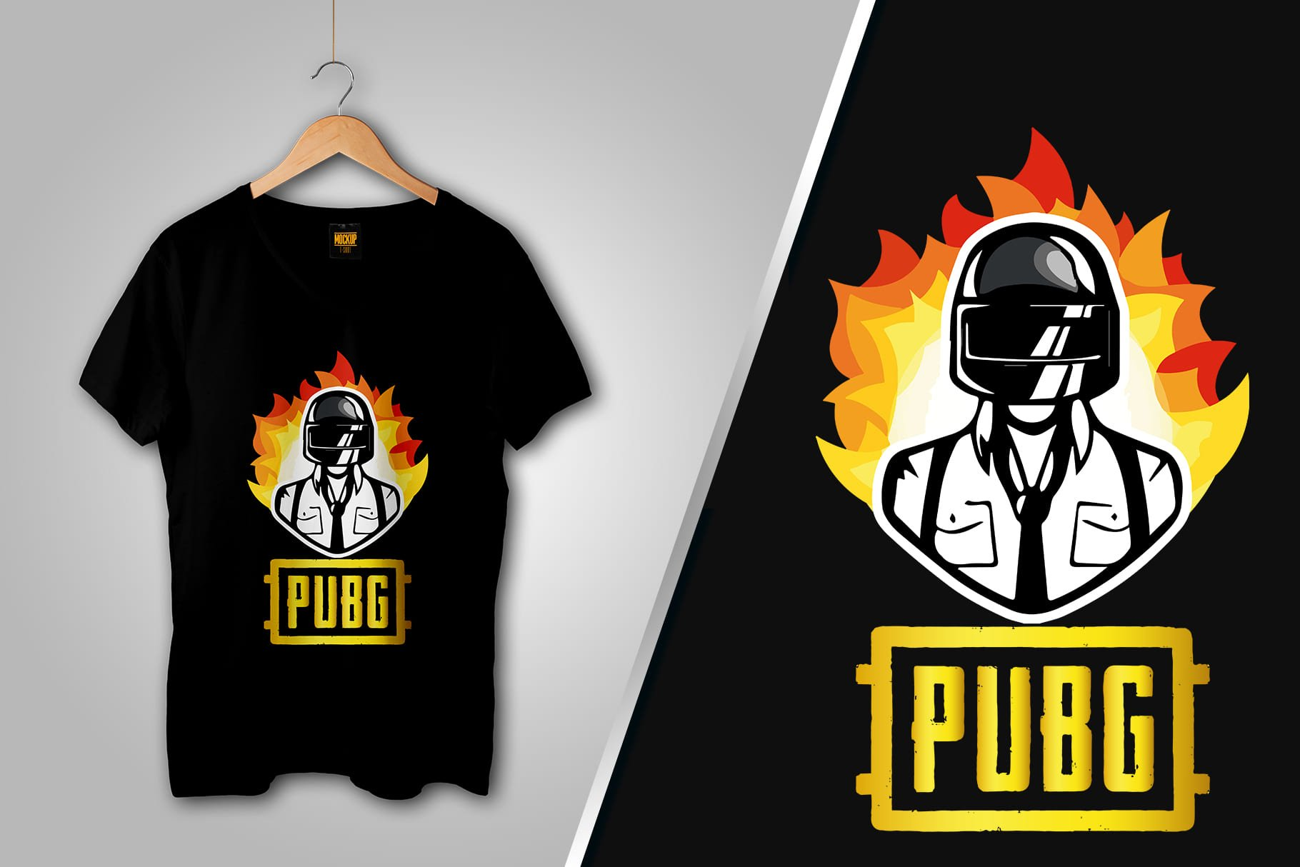 Black T-shirt with the head of a man in a helmet on fire.