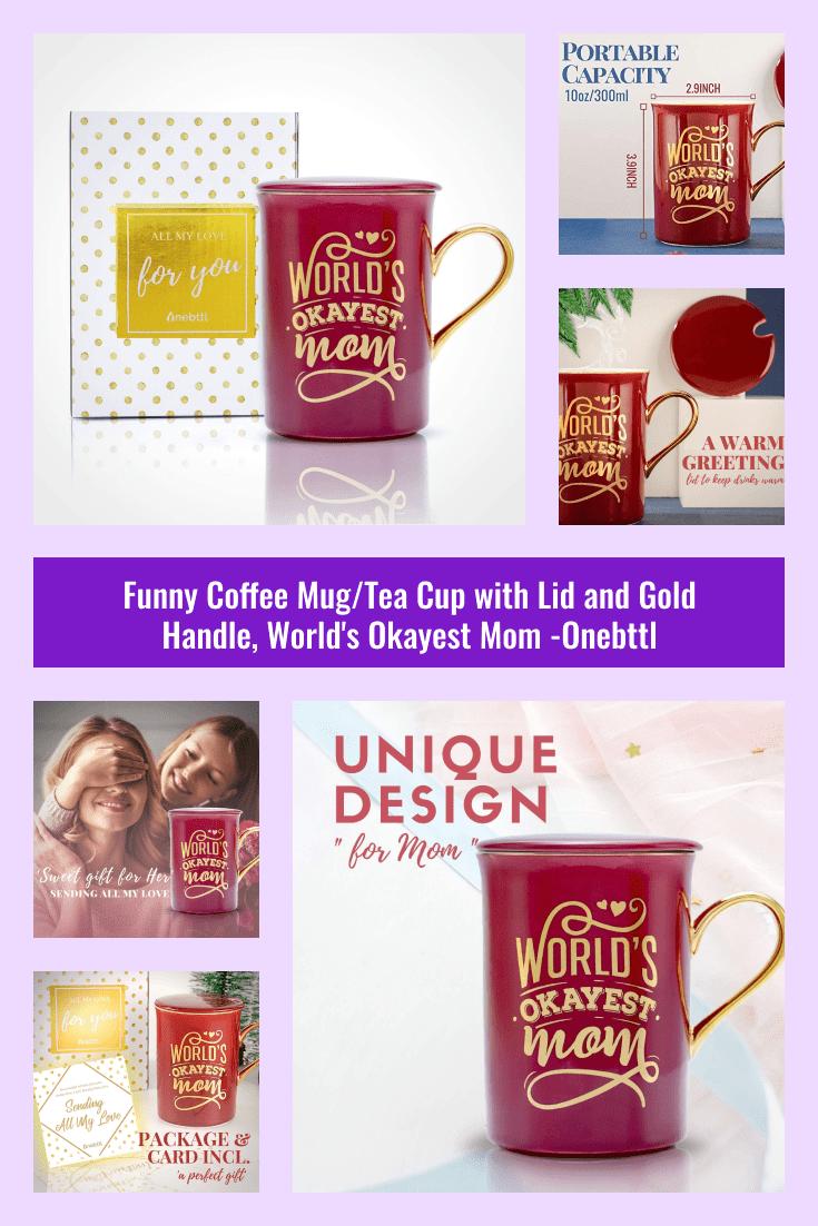Red coffee mug with gold handle.