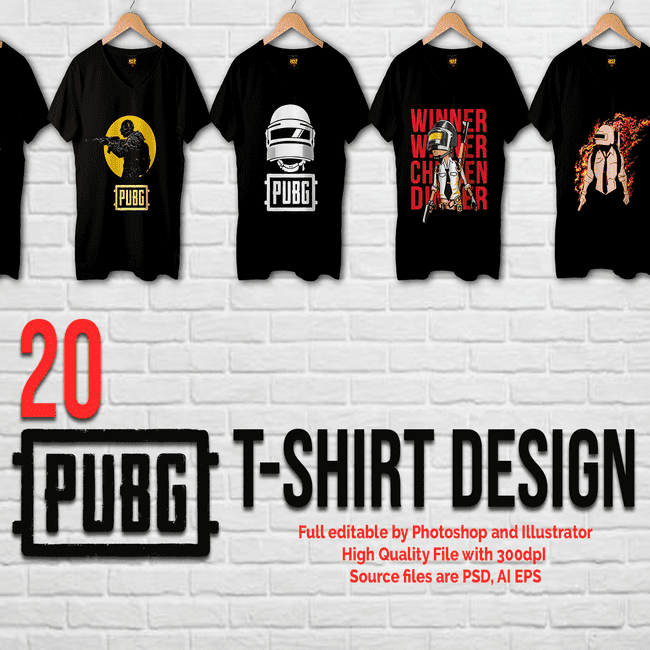 20 Pubg T-Shirt design bundle_main