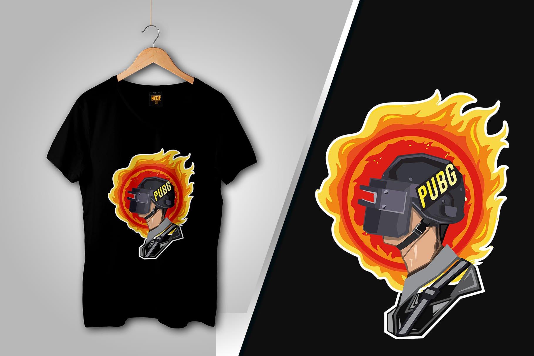 Black T-shirt with a man's head in profile in a helmet on fire.