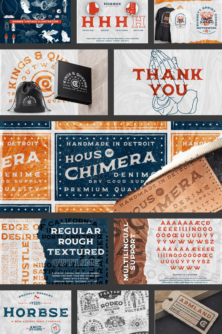 The brochure depicts the font in various textures. 90s Fonts.