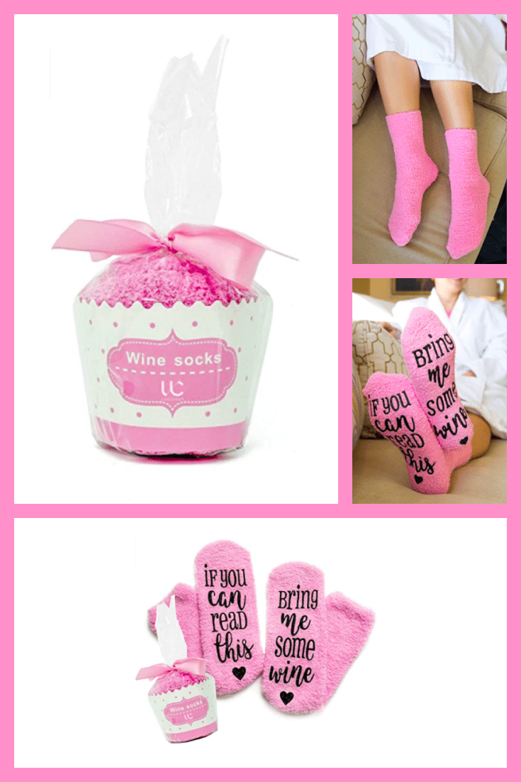 Warm pink socks in a stylish package.