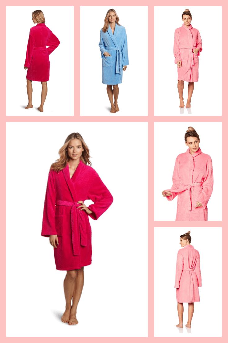 Women's knee-length bathrobes in delicate colors.