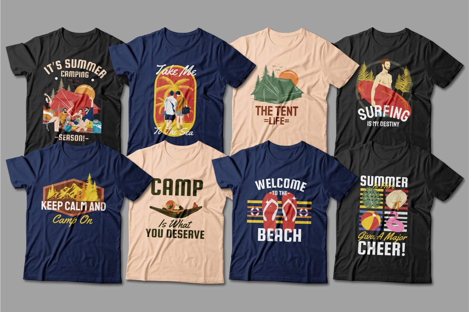 Summer T-shirts in three colors featuring outdoor activities.