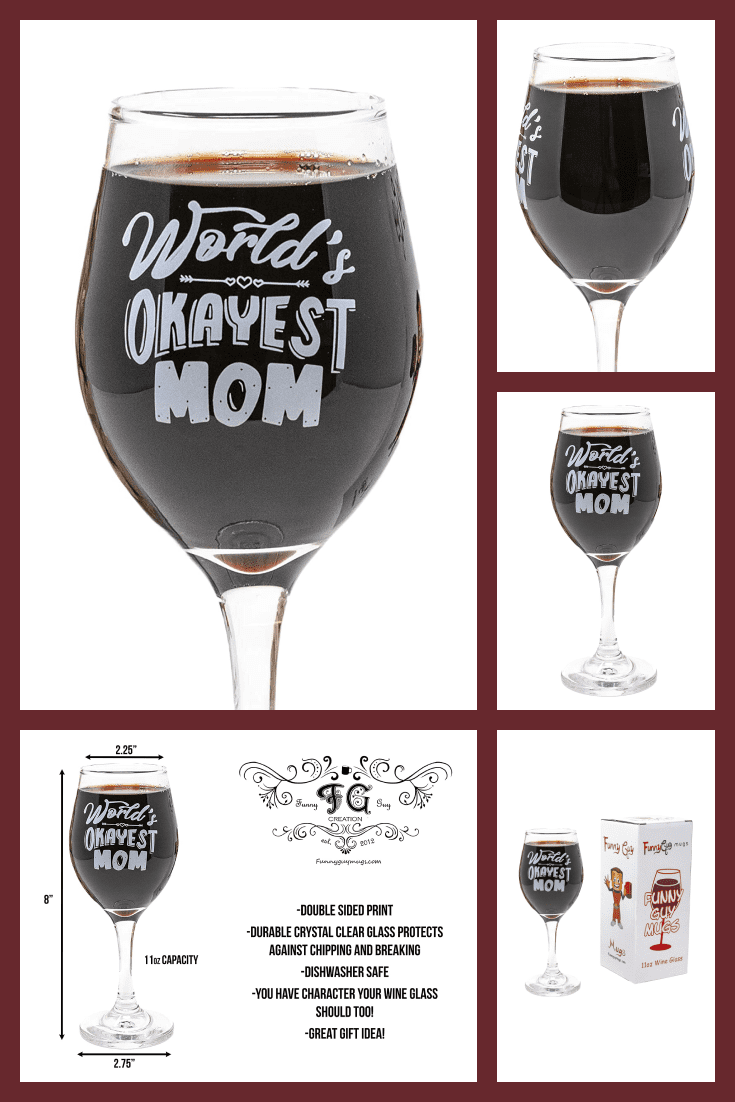 Transparent glass for wine with an inscription about mom.