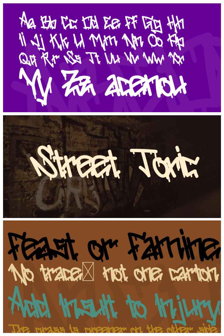 On a common sheet, there are three font options with different background colors. Gangster Fonts.