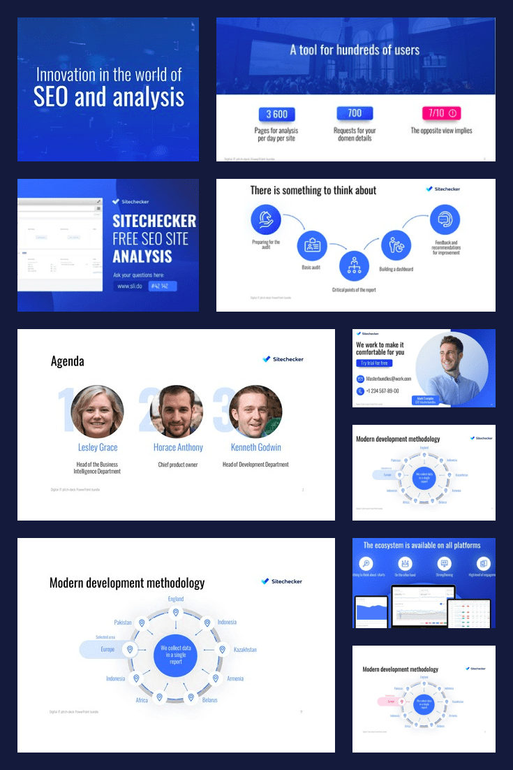 Blue template with many infographics and interactive elements.