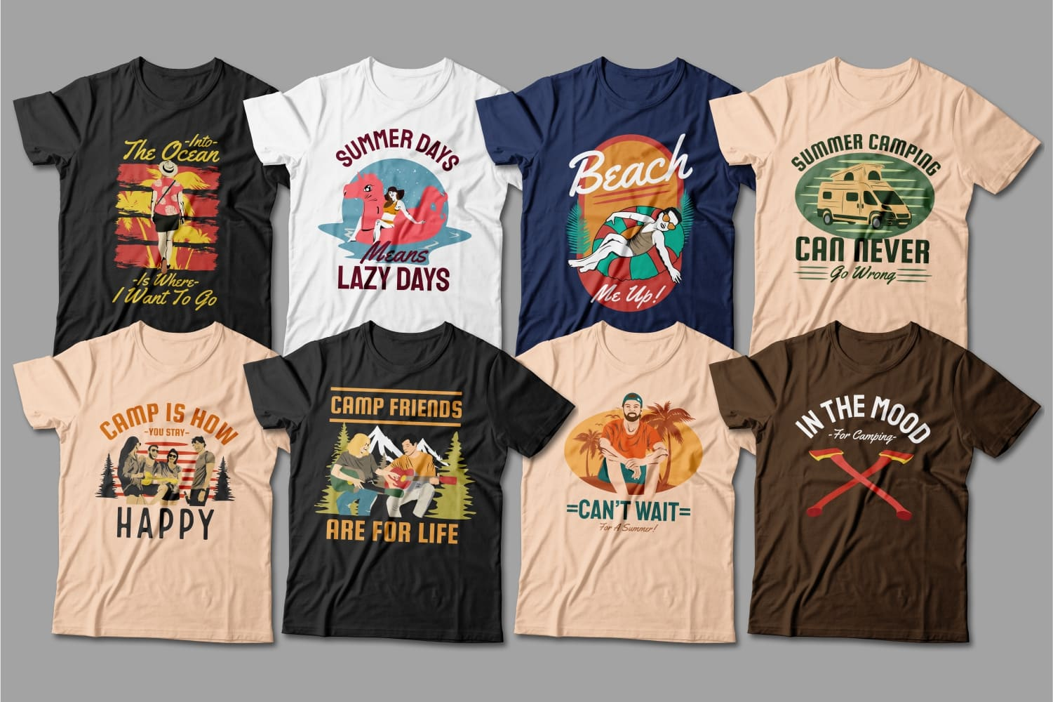 Summer T-shirts with beach and palm trees.