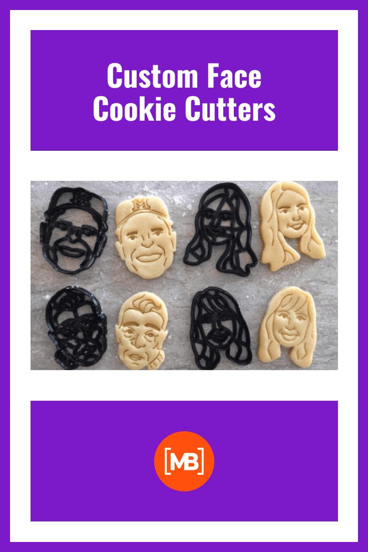 Cookie baking tins in the shape of human faces.