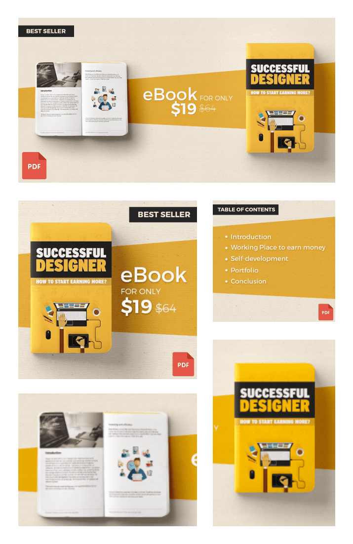 eBook: How to Start Earning More? Successful Designer. Cover Collage.