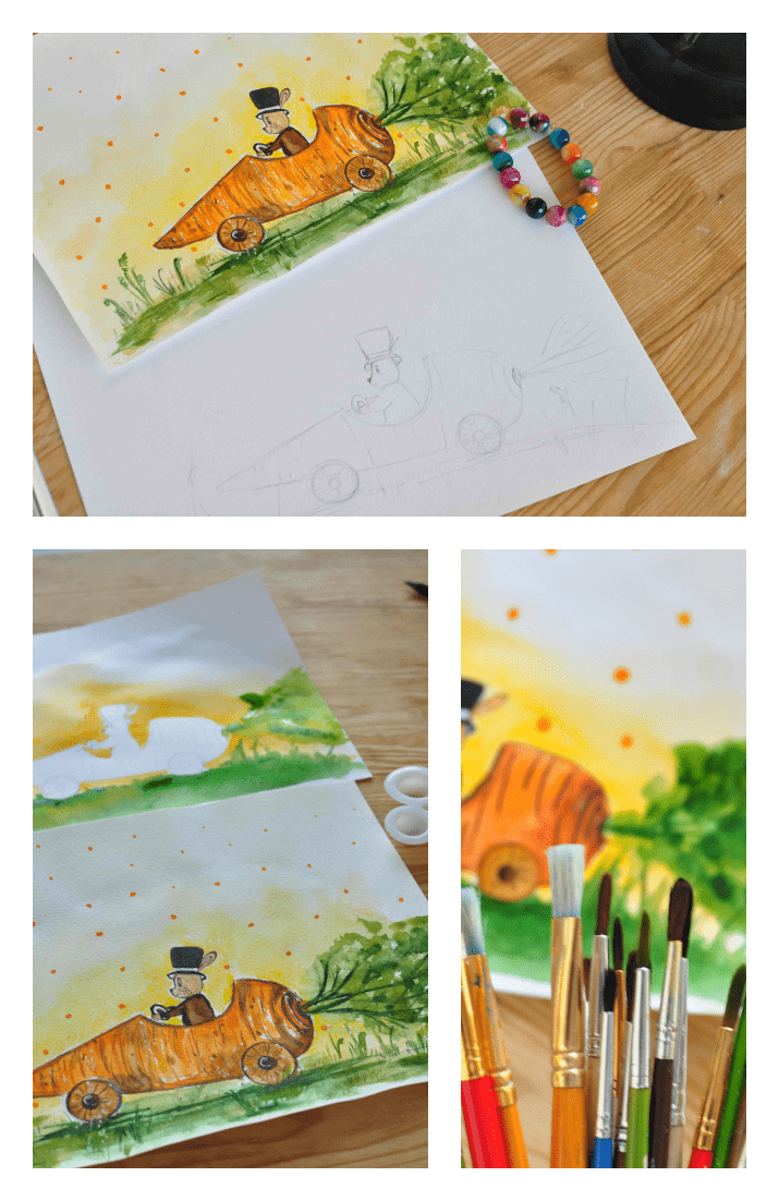 Watercolor Video Tutorial: Painting an Easter Rabbit [for Beginners]. Cover Collage.