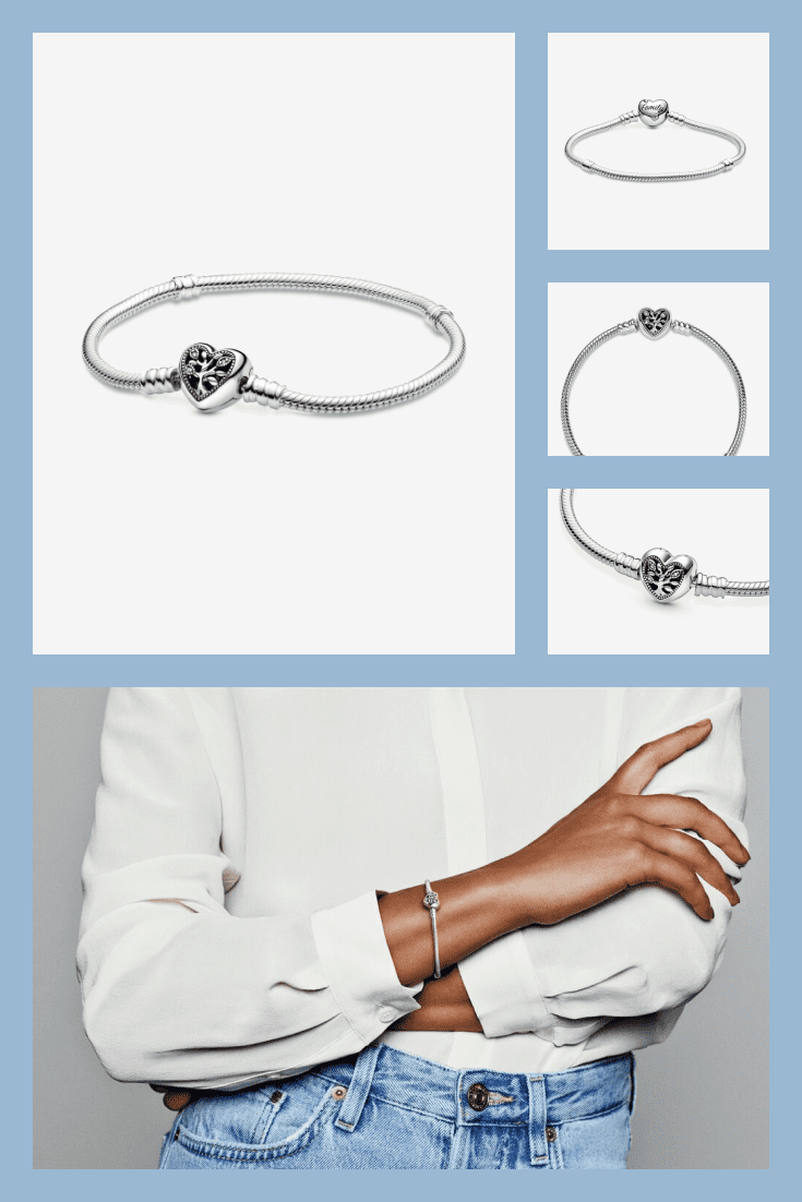 Stylish Pandora bracelet with a heart.