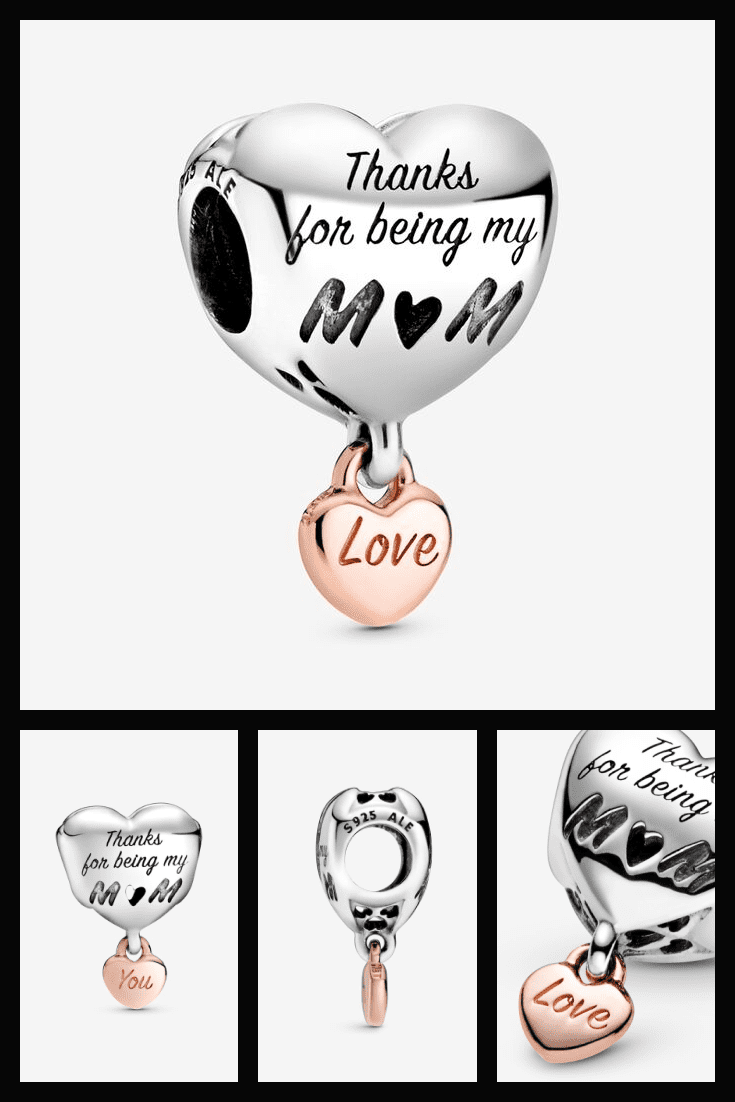 A very touching stone for a bracelet from Pandora in the shape of a heart and with the inscription