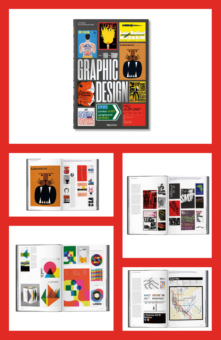 The History of Graphic Design. Vol. 2, 1960–Today by Jens Müller and Julius Wiedemann. Cover Collage.