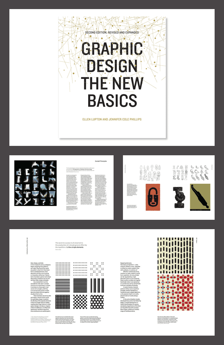 Graphic Design: The New Basics by Ellen Lupton and Jennifer Cole Phillips. Cover Collage.
