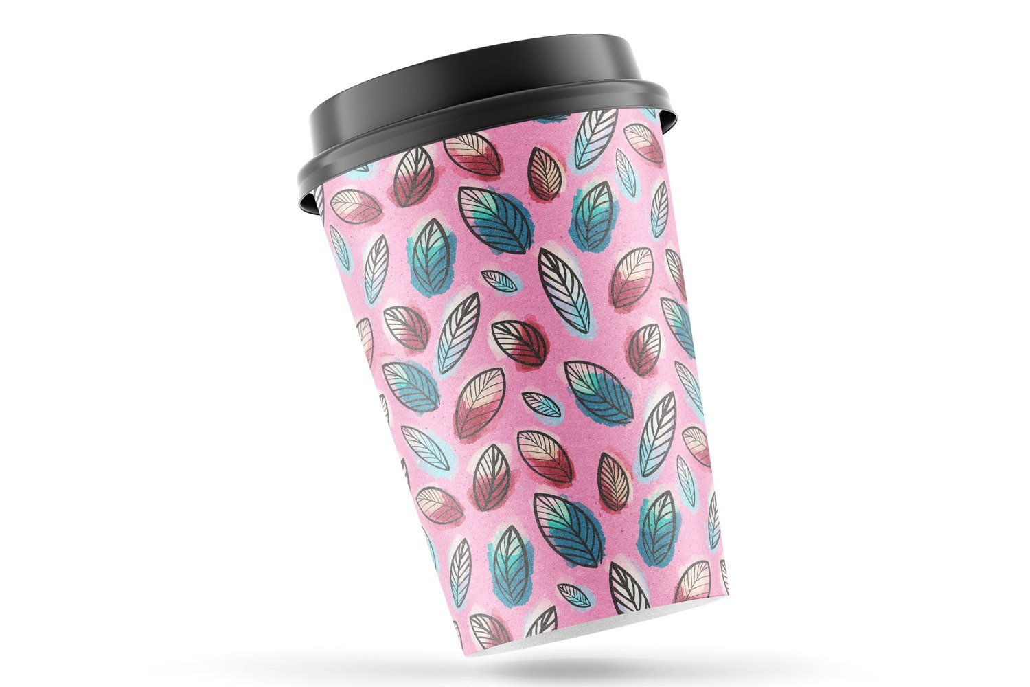 Pink cup with leaves.