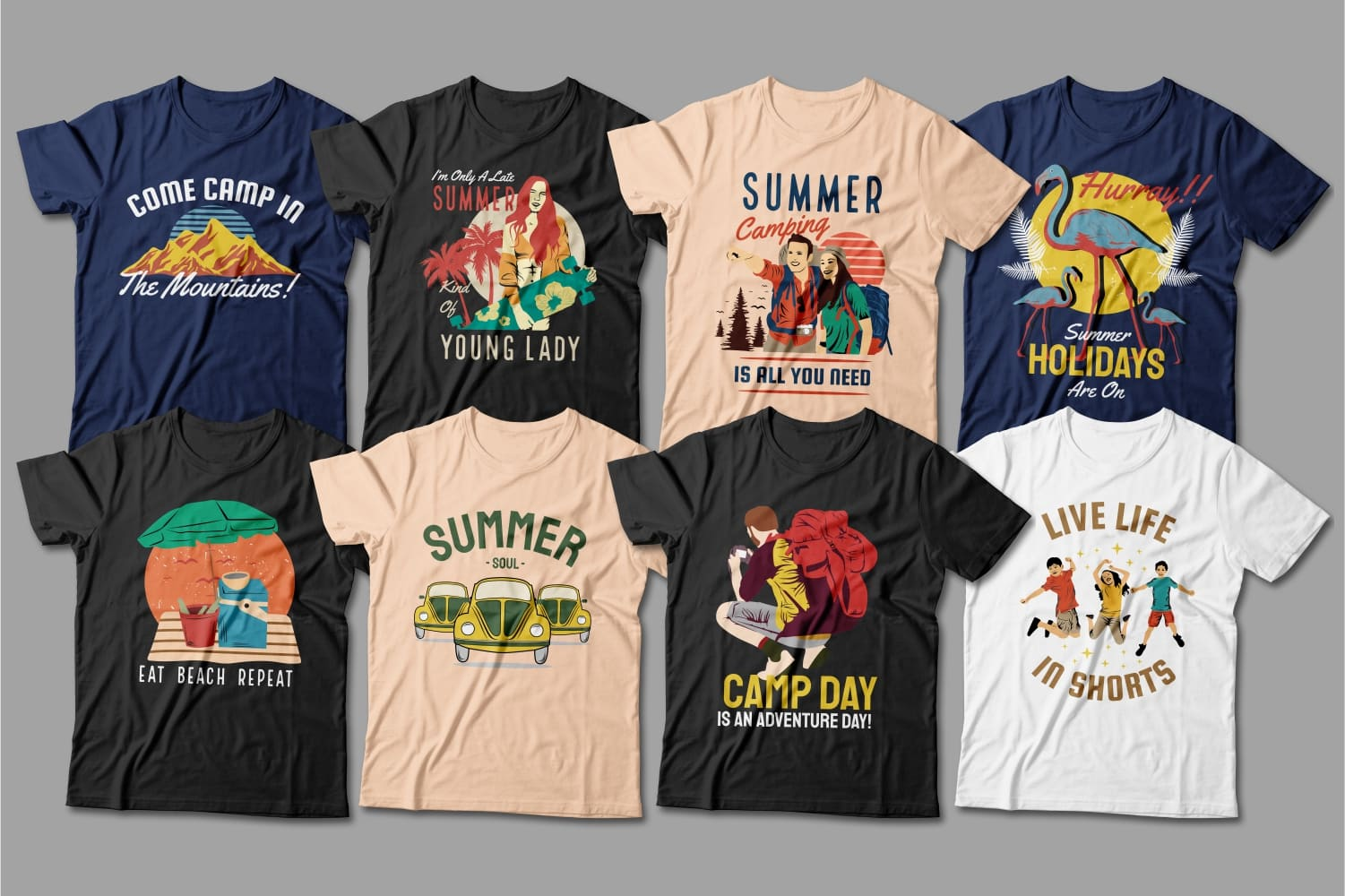 Summer T-shirts with cars, mountains and friends.