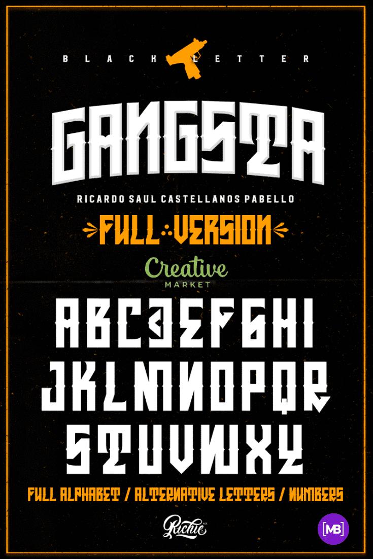Black booklet with white font. Gangster Fonts.
