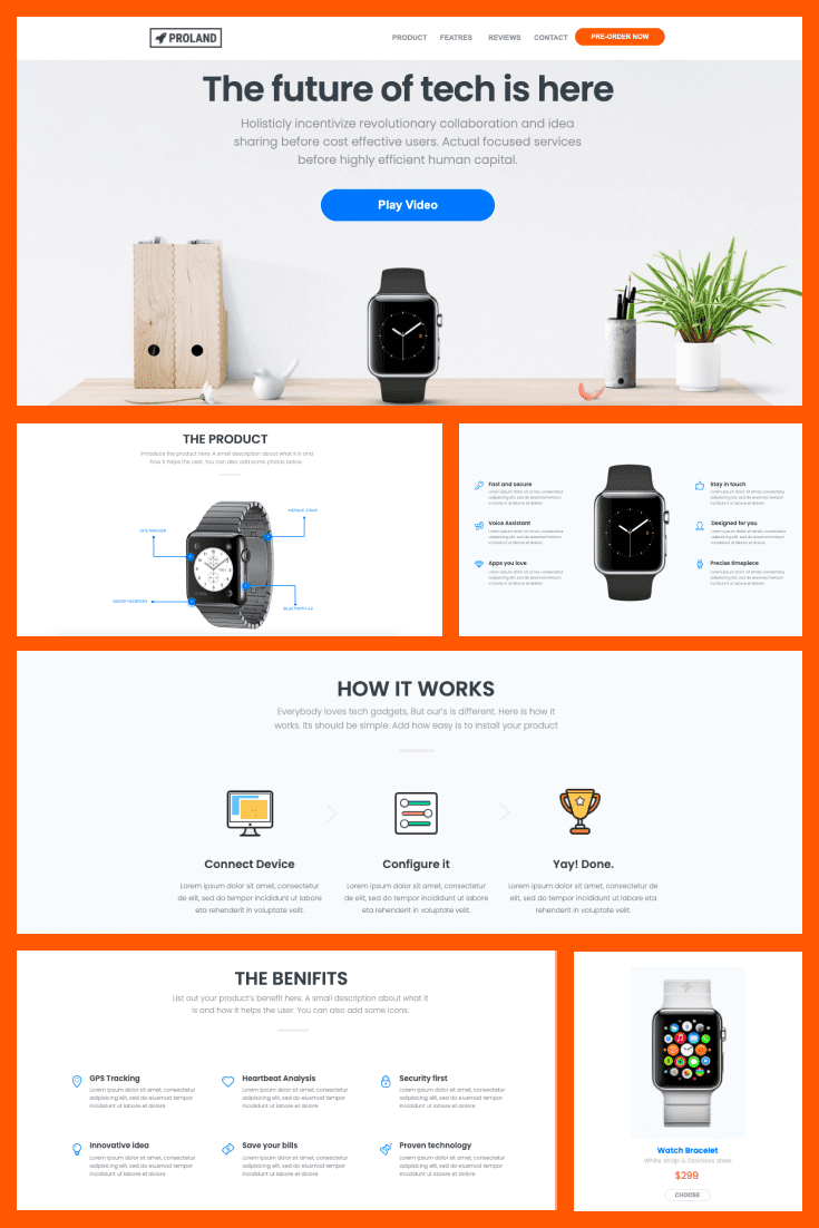 A simple and spacious landing page template. The white background and red borders on the text boxes highlight the highlights.