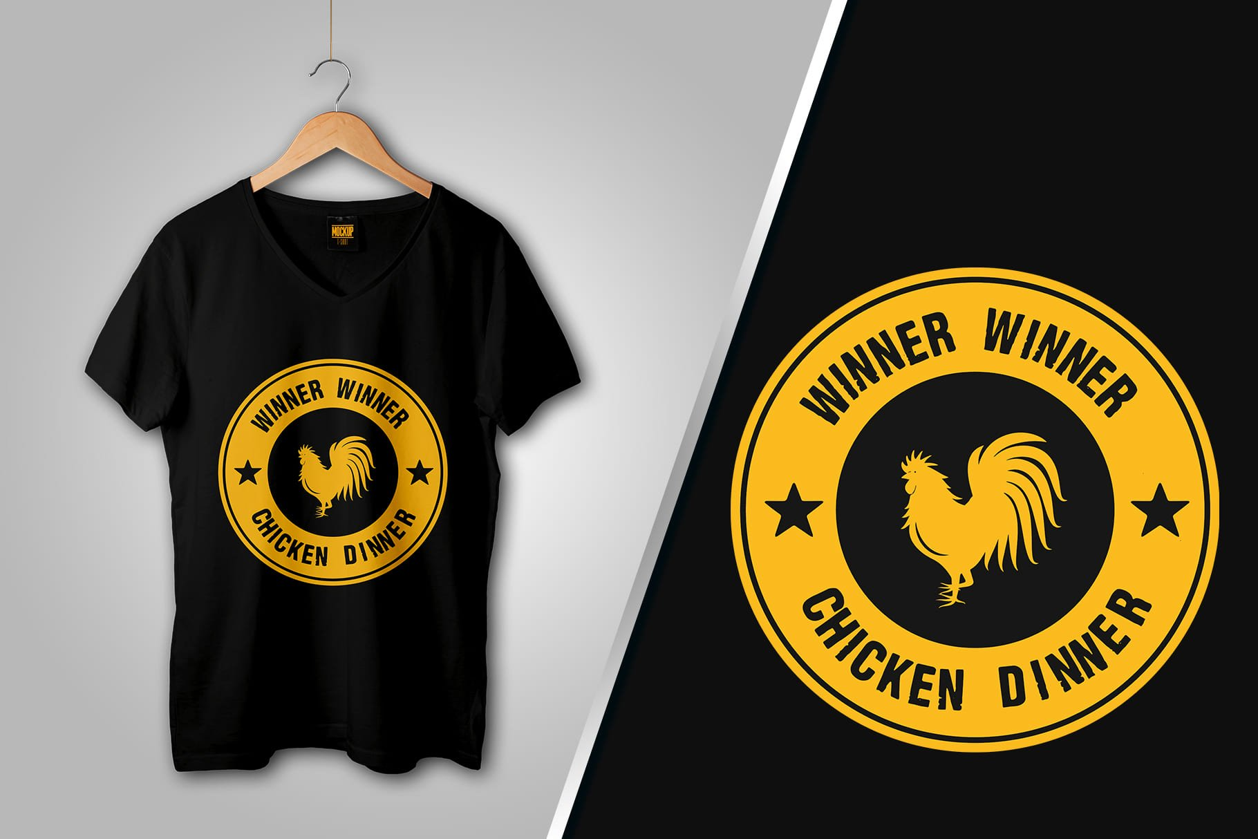 Black T-shirt with a picture of a yellow circle with the word Winner and a rooster in the middle.
