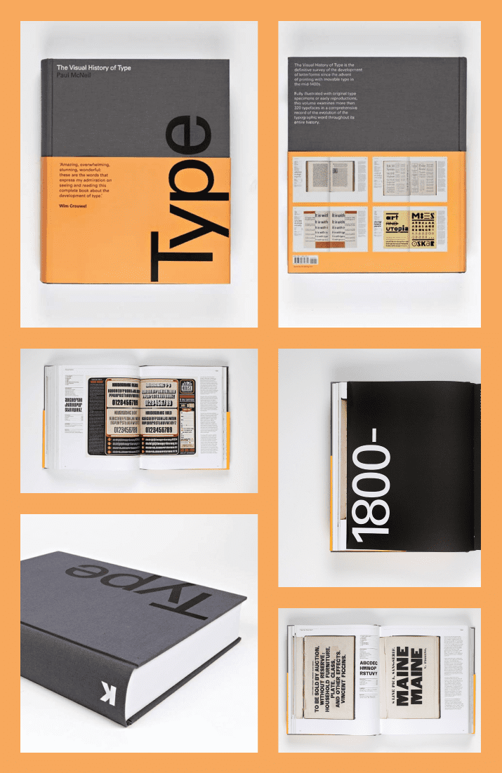 The Visual History of Type: A visual survey of 320 typefaces by Paul McNeil. Cover Collage.