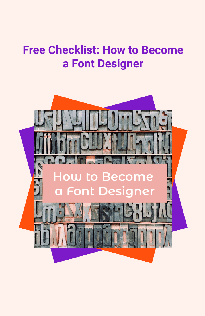 Free Checklist: How to Become a Font Designer. Cover Collage.