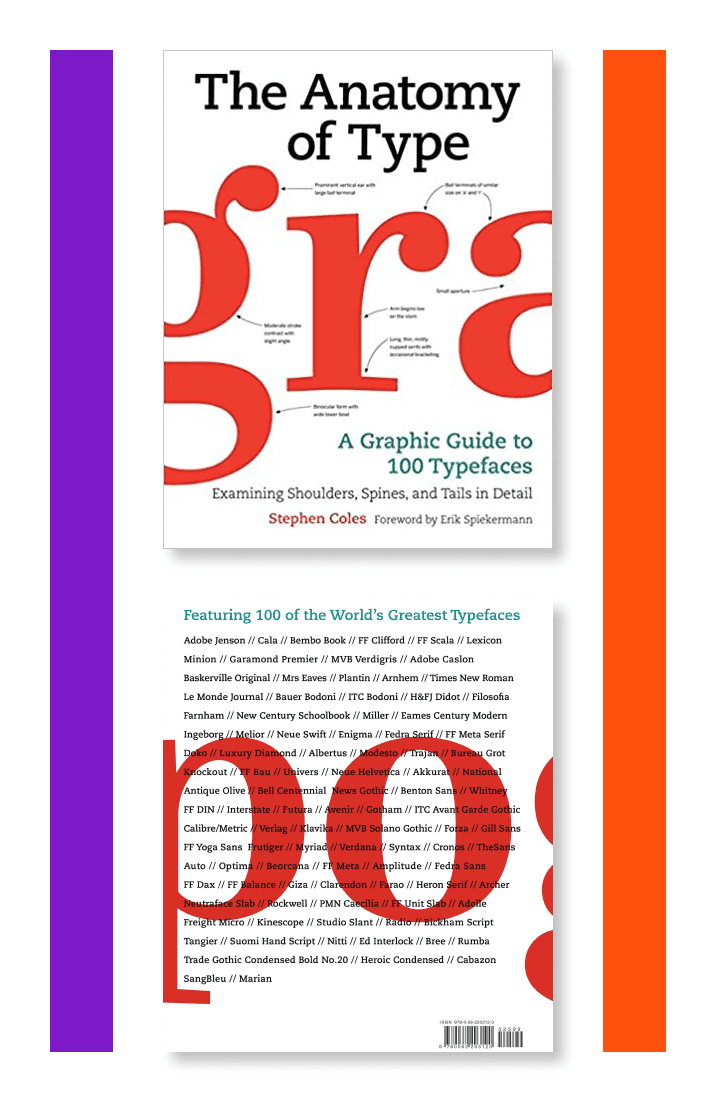 The Anatomy of Type: A Graphic Guide to 100 Typefaces by Stephen Coles. Cover Collage.