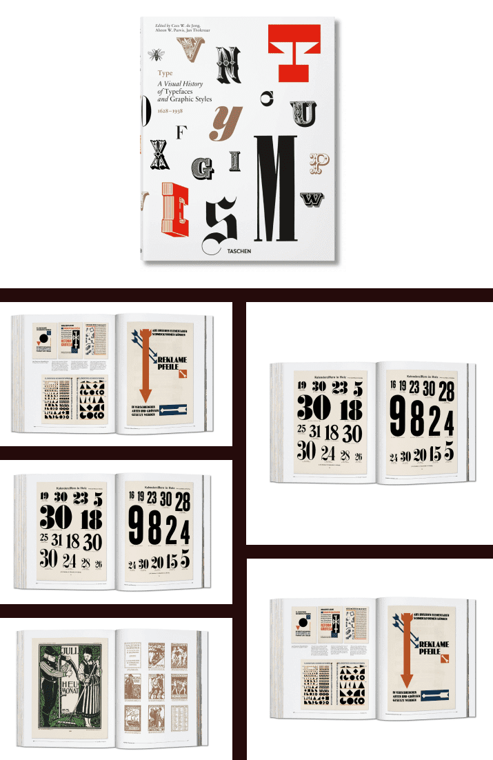 Type. A Visual History of Typefaces & Graphic Styles by Cees W. de Jong, Alston W. Purvis, Jan Tholenaar. Cover Collage.