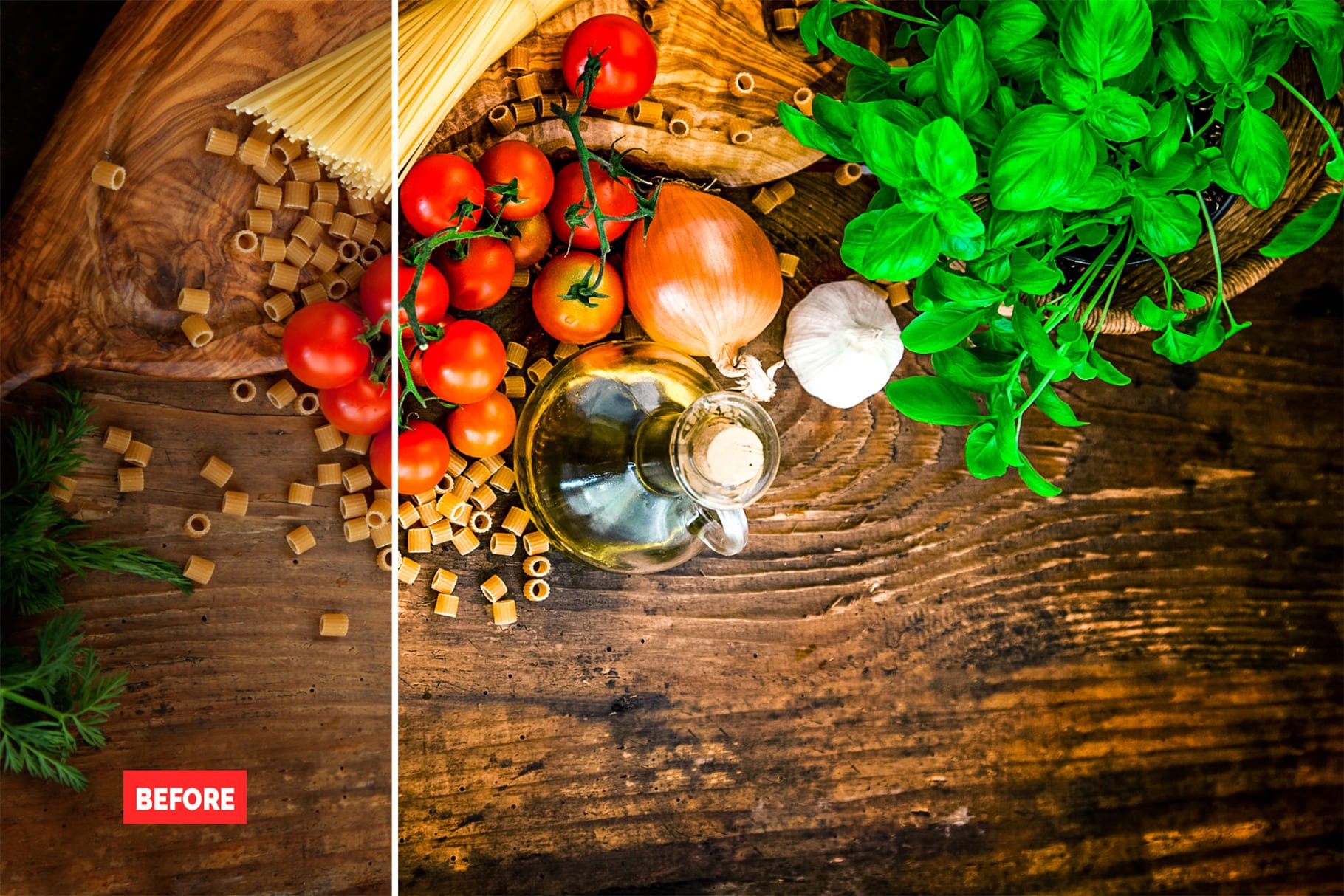 Grocery set on a wooden board. 120+ Professional HDR Photoshop Actions Collection.