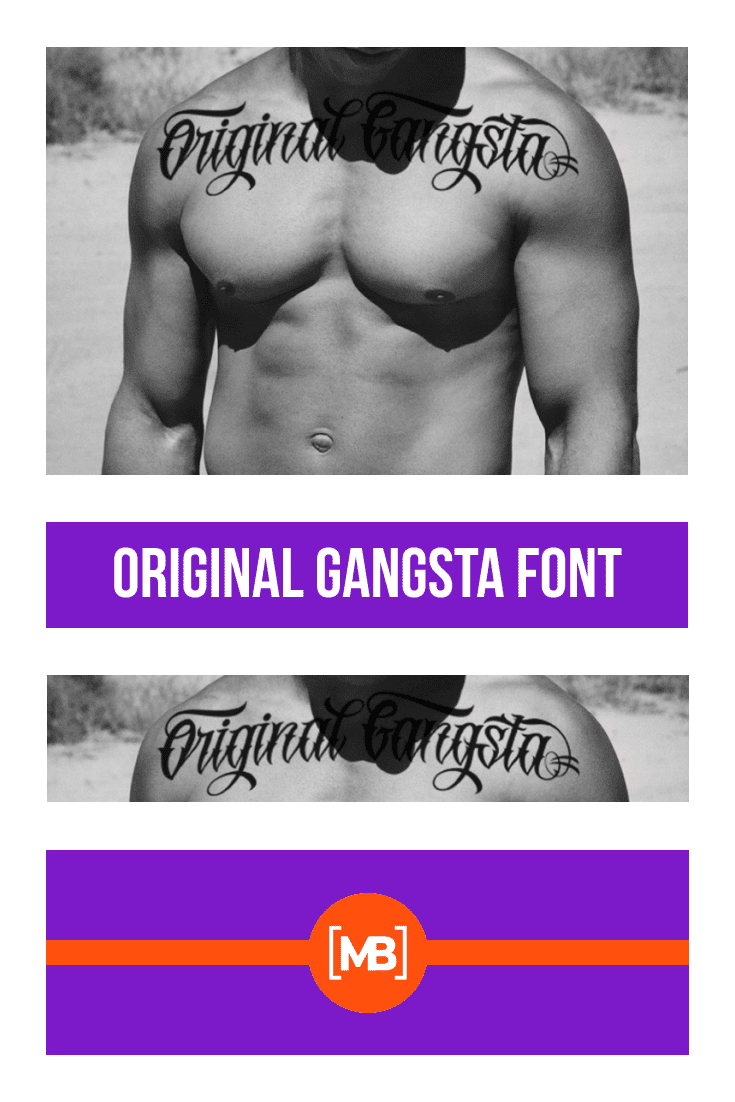 The font is depicted on the body of a pumped-up guy. Gangster Fonts.