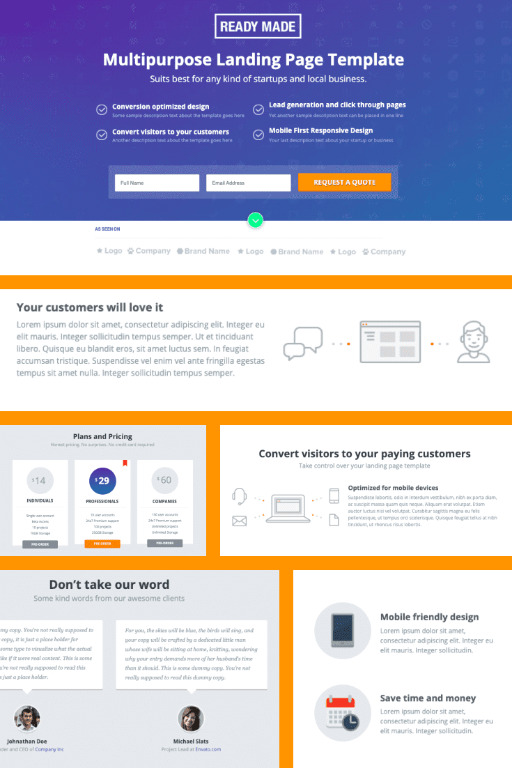 The structure is a classic template with pleasant colors - lilac and orange. It will fit a lot of text.