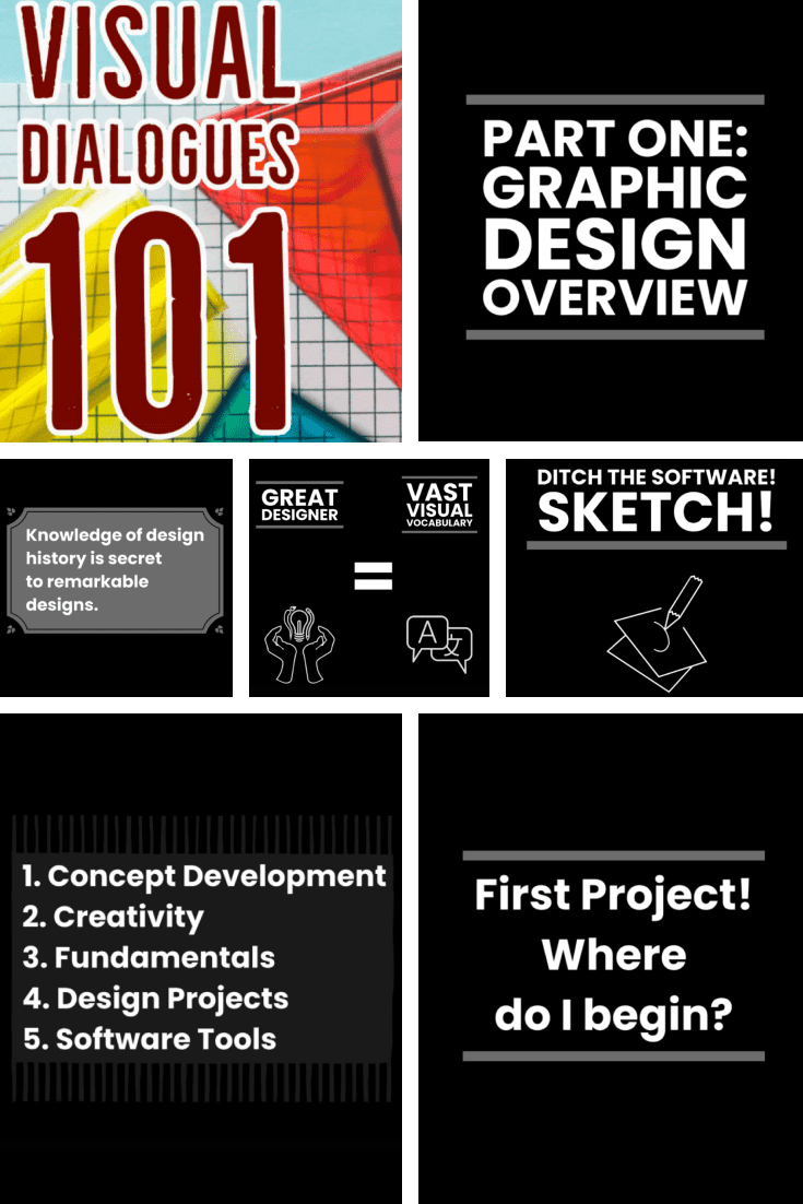 Visual Dialogues 101 GraphicDesign Fundamentals: Design Career, Layout, Typography, and Colour.Cover Collage.