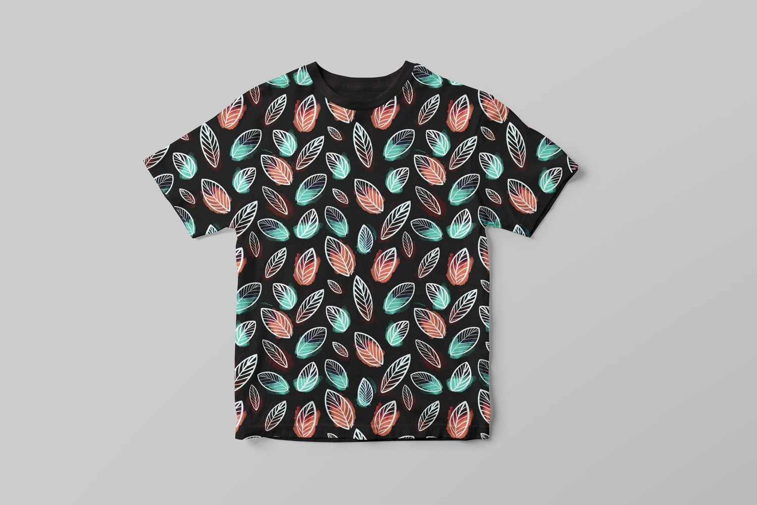 Black T-shirts with bright leaves.