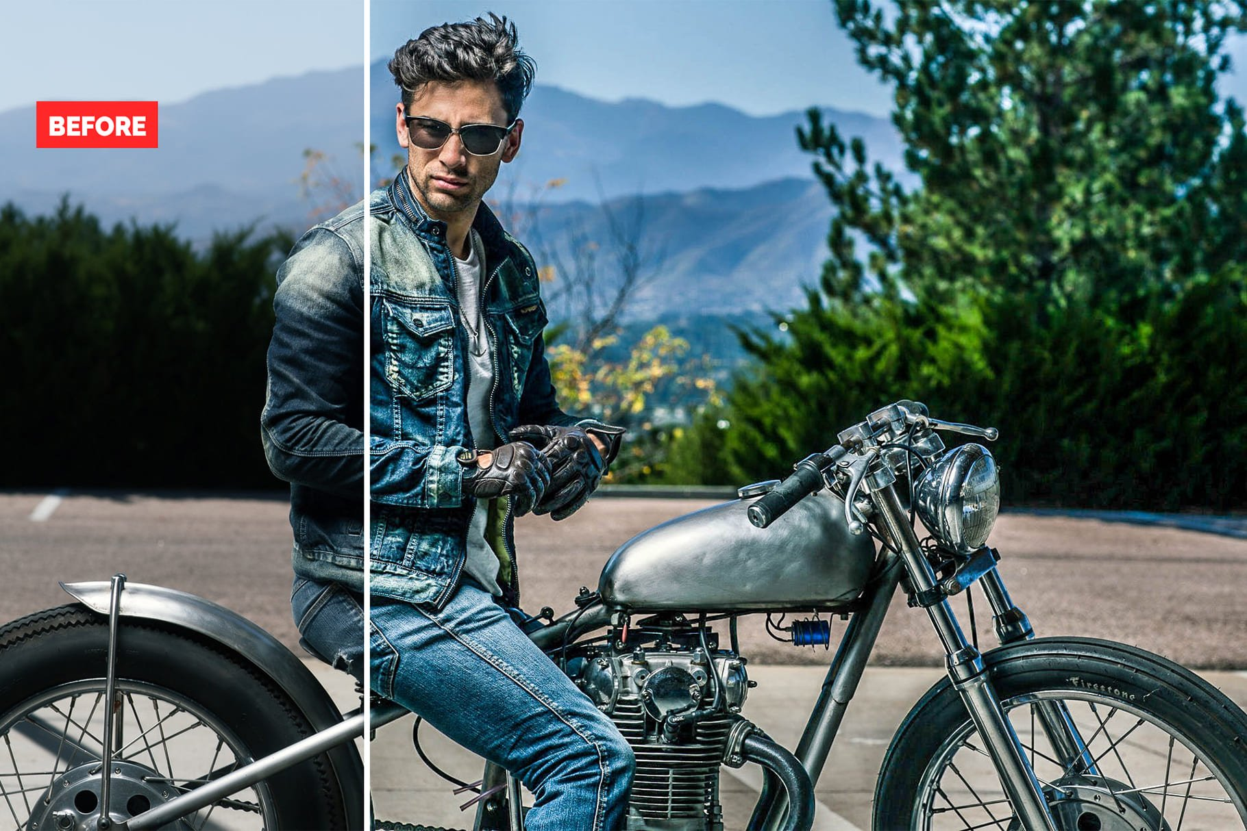 Guy on a motorcycle. 120+ Professional HDR Photoshop Actions Collection.