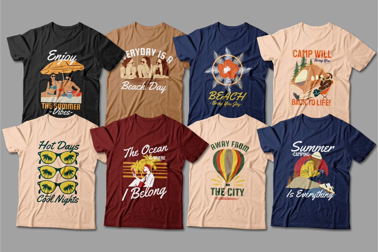 Summer T-shirts in different colors with beach relaxation and sunglasses.