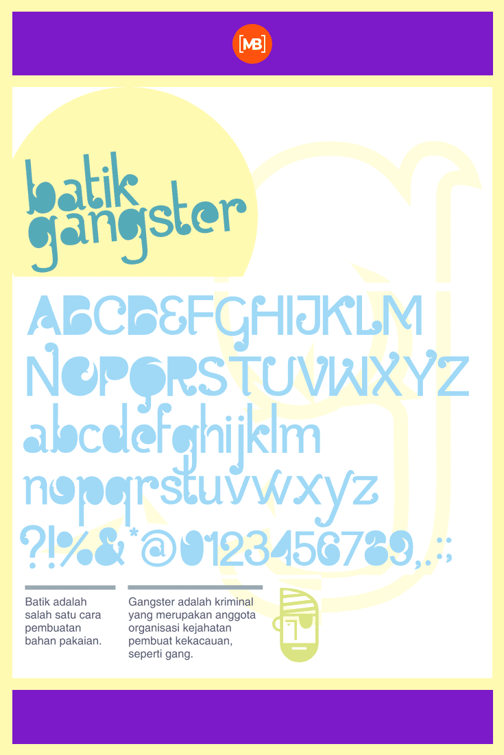 On a white background with yellow geometry gangster font. Gangster Fonts.