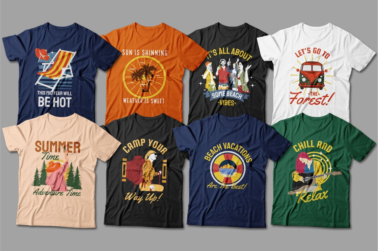 Summer T-shirts in different colors with bright prints.
