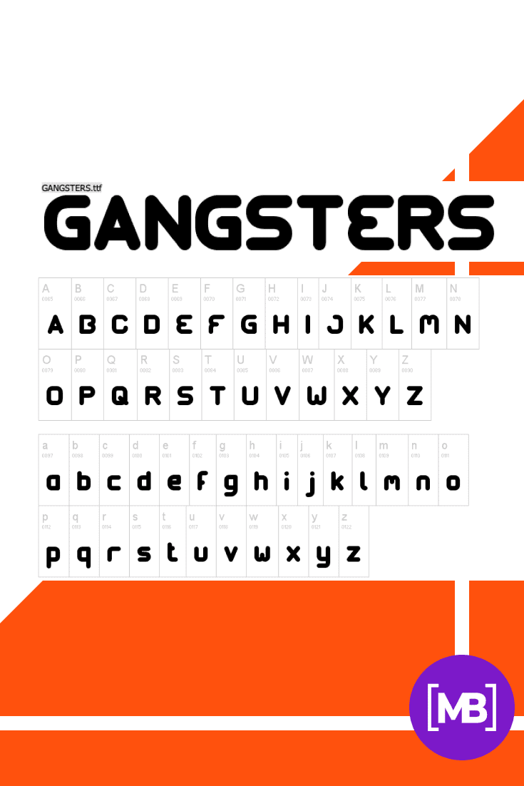 Black font on a white background in the form of the alphabet. Gangster Fonts.